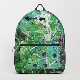 Abstract Painting. Acrylic Pour. Green Land. Backpack