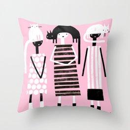 PINK BLACK & WHITE Throw Pillow