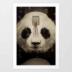 Panda window cleaner 02 Art Print