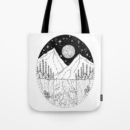 Mountainous Woodland Waterfall Scene Tote Bag