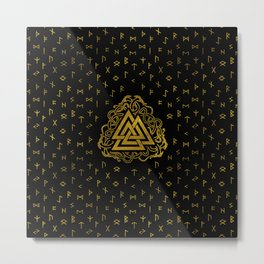 Gold Valknut Symbol on Runes Pattern Metal Print