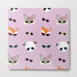 Summer Animals Animals Wearing Sunglasses Purple Metal Print