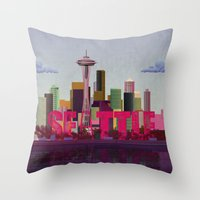 seattle Throw Pillows featuring Seattle by WyattDesign