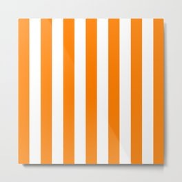 Vertical Stripes (Orange/White) Metal Print