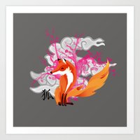 kitsune Art Prints featuring Kitsune by Mazuki Arts