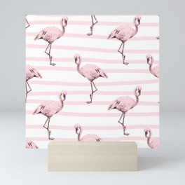 Flamingos on Drawn Stripes in Pink Flamingo Mini Art Print