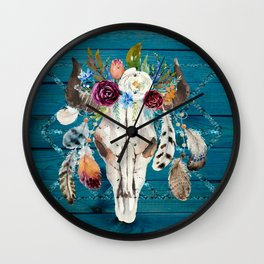 Rustic Glam Boho Chic in Teal Wall Clock