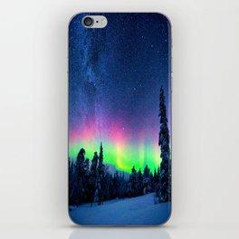 Aurora Borealis Over Wintry Mountains iPhone Skin