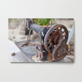 Vintage Sewing Machine Metal Print