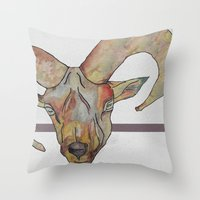 goat Throw Pillows featuring Goat by WaterLily