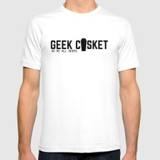 Geek Casket Mens Fitted Tee White SMALL