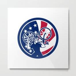 American Bike Mechanic USA Flag Mascot Metal Print