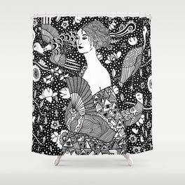 Gustav Klimt - Lady with fan Shower Curtain