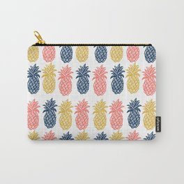 Pineapple Pattern in Tropical coral, yellow, navy Carry-All Pouch