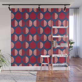 Pomegranate Line Up Blue Wall Mural