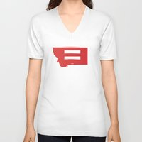 montana V-neck T-shirts featuring Montana Love by Tank Top Sunday