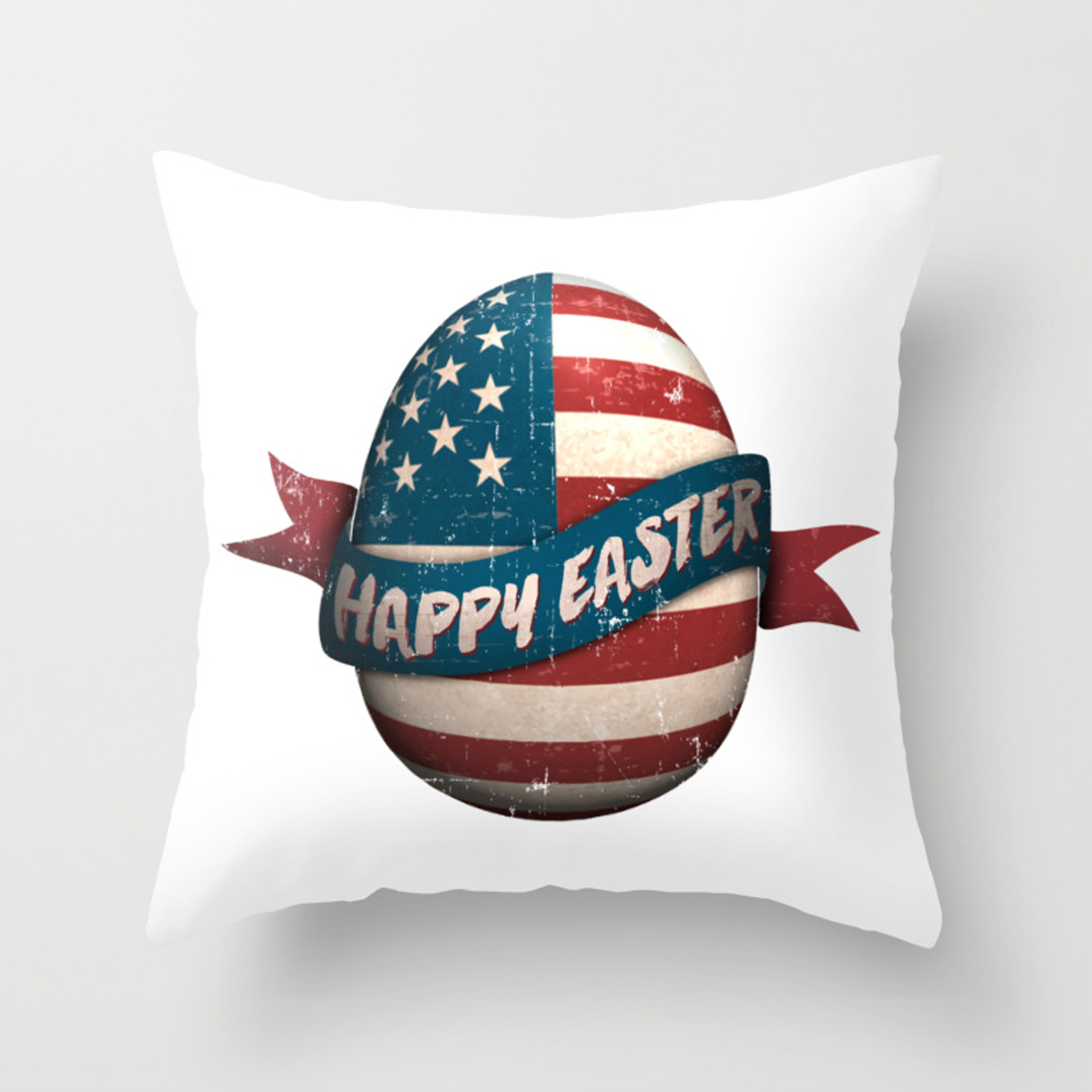 Patriotic Happy Easter Egg USA Flag Throw Pillow by eleventeez9