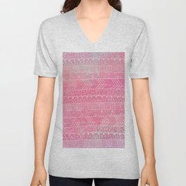 Geometrical girly pink watercolor abstract tribal Unisex V-Neck