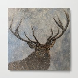 Not Afraid of the Snow - Stag in Snow Metal Print