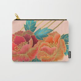 Peonies and Gold Stripes - Pink and Orange Carry-All Pouch