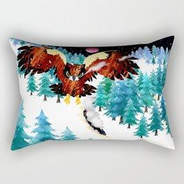 Owl and Steam Train Rectangular Pillow