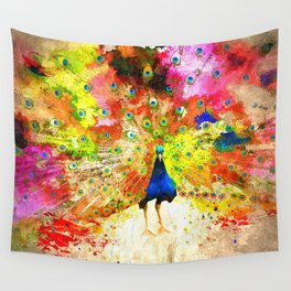 Peacock Grunge Wall Tapestry