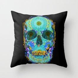 Mandala Skull Artwork - Third Eye Chakra Energy Art - Sharon Cummings Throw Pillow