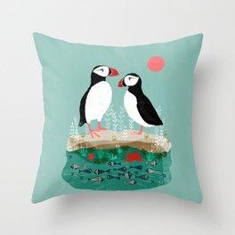 Puffins - Bird Art, Shorebird, Sea bird, birds, Cute illustration by Andrea Lauren Throw Pillow