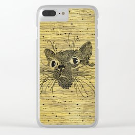 Black  Cat on Vintage gold pattern Clear iPhone Case