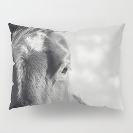 Close Up Horse Picture in Black and White Pillow Sham