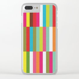 Bright Colorful Stripes Pattern - Pink, Green, Summer Spring Abstract Design by Clear iPhone Case