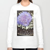 coffe Long Sleeve T-shirts featuring Coffe Beans and Blue Flower of Artichoke by CAPTAINSILVA