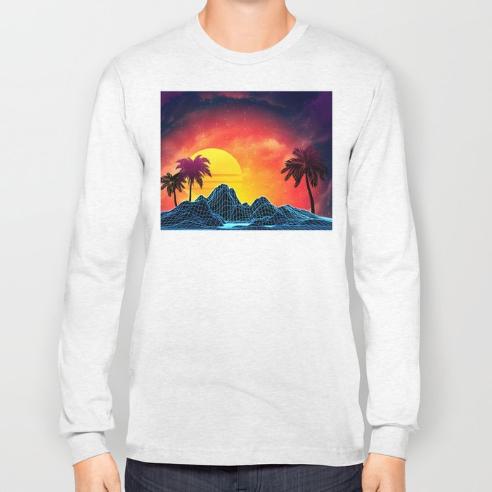 Sunset Vaporwave landscape with rocks and palms Long Sleeve T-shirt