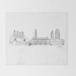 Kansas City Skyline Illustration Black Line Art Throw Blanket