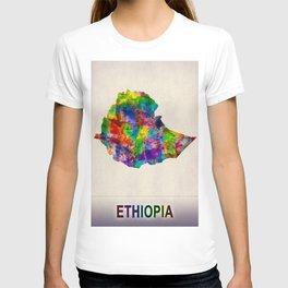 Ethiopia Map in Watercolor T-shirt