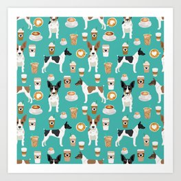 Rat Terrier coffee dog breed pet portrait dog pattern dog breeds gifts for dog lovers Art Print