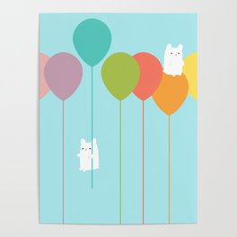 Fluffy bunnies and the rainbow balloons Poster