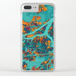 Colourful green and orange trees Clear iPhone Case