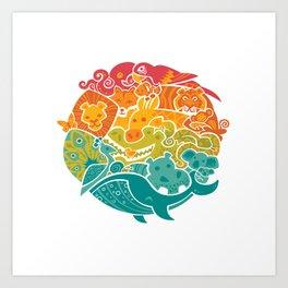 Animal Rainbow Art Print