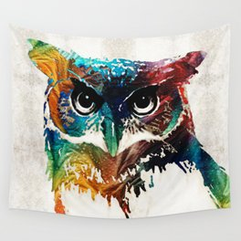 Colorful Owl Art - Wise Guy - By Sharon Cummings Wall Tapestry