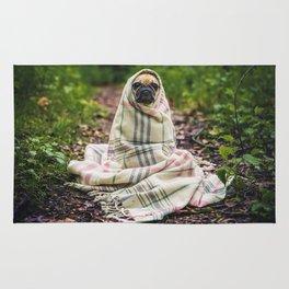 Snug pug in tartan Rug