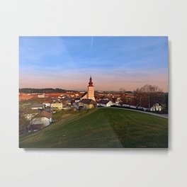 Village and church in warm sundown light II | landscape photography Metal Print