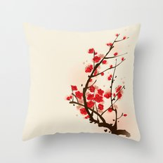 Oriental plum blossom in spring 012 Throw Pillow