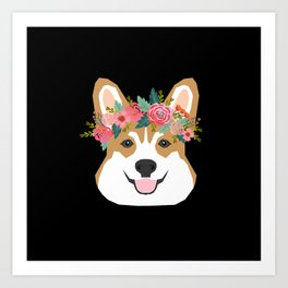 Corgi head floral crown dog breed gifts for welsh corgis Art Print