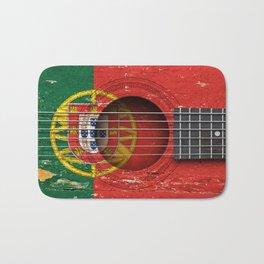 Old Vintage Acoustic Guitar with Portuguese Flag Bath Mat