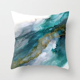 Wild Rush - abstract ocean theme in teal gray gold, marble pattern Throw Pillow