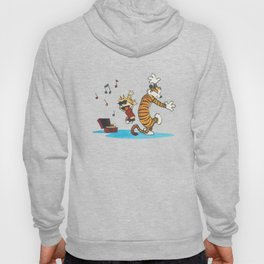 Hobbes Dancing with Vinyl Phonograph, Cute Artwork, Tshirts, Art Posters, Prints, Bags, Men, Women, Hoody