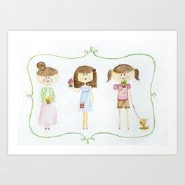 3 little girls Art Print