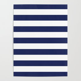 Navy Blue and White Stripes Poster