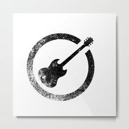 Guitar Ink Stamp Metal Print